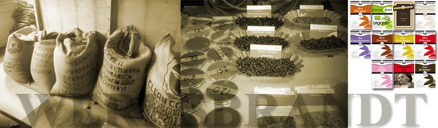 Werksbrandt Kaffeerösterei - Proben, Säcke, Mischungen